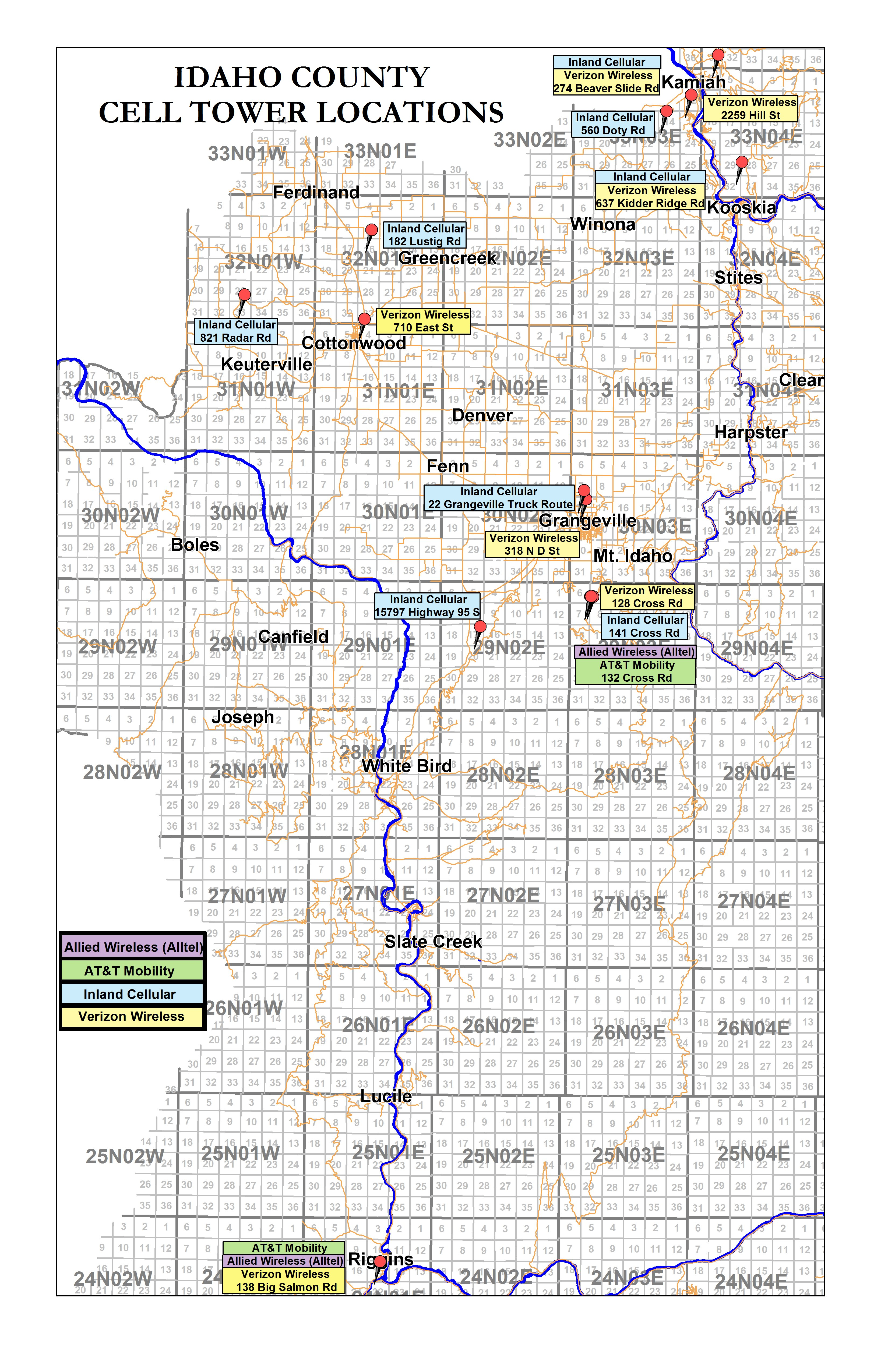 Cell Tower Locations – Official Idaho County Site on